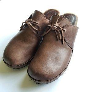J CREW Vintage Wooden Platform Heel Leather Clog 9